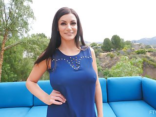 Busty Becky heads out to blue patio furniture to snake-oil artist her middle