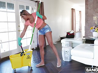 Cock hungry maid Mercedes Carrera gets fucked away from a handful of massive dicks