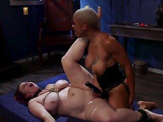 Black bit of skirt is strap-on fucking her doomed up slavegirl