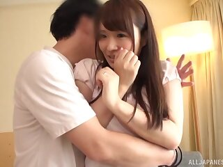 Quickie fucking on a difficulty sofa everywhere natural tits Hibino Satomi