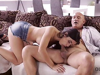 OLD4K. Mischievous distressing brunette tempts old man into drilling her butthole