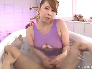 Japanese mommy knows some pretty hot tricks with her soft hands