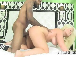 Busty Blonde MILF Alura Jenson is Late with an increment of Horny