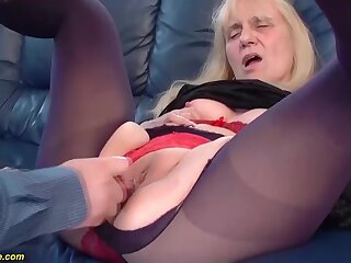 Saggy boobs 85 years old mom gets tricky length of existence rough and deep doggystyle anal fuck