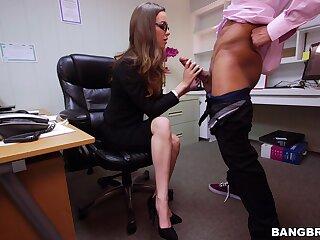 Dick loving secretary Tali Dova gives head and gets fucked hard