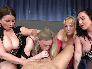 Group dick sucking with mature neighbors Renata and Victoria