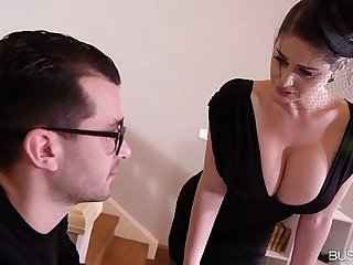 Busty lovers get to see hot widow Cathy Heaven titty fucked after funeral