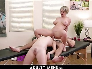 MILF Step Mom & Teenager Step Daughter Threesome With Masseur With Facial