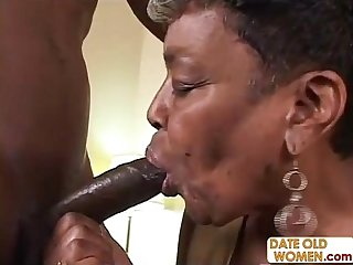 Black Granny Gets Some Young Cock