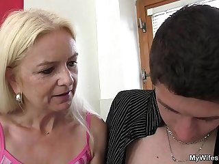Very old blonde mother in law rides his cock
