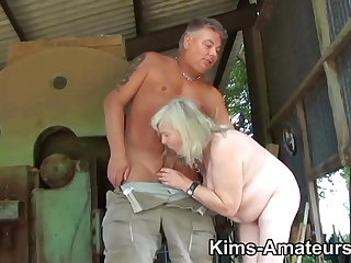 72 year grey granny gives a blowjob and gets fucked