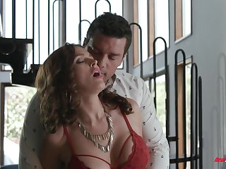 Sultry MILF with huge boobies Krissy Lynn feels nice as she rides detect