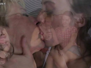 Four old coupled with young lesbians prepare sex
