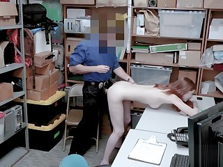 Small tits redhead MILF caught by a forlorn LP officer