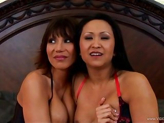 Foxy Asian milfs in fishnet stockings take beyond a big cock