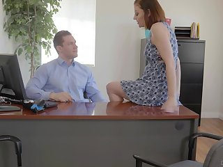 Busty office whore Tiara Syre gets pounded on top of will not hear of boss's writing-desk