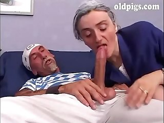 Old woman banged doggystyle on the couch