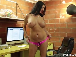 Big fake tits grown-up Nadia Night drops on her knees to milk him