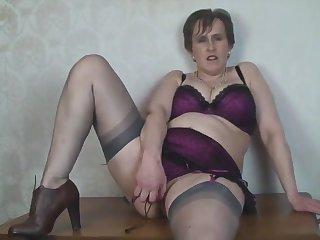 Busty Grown-up Secretary Toys back Nylon Stockings