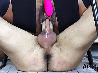 MissFluo - twin orgasm on denied cock with juices spilling close to it A78
