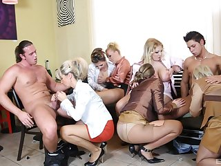 Unmasculine orgy with a couple of strippers with huge dicks