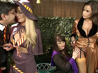 Busty women share dick and fulfill their fantasies in kinky play