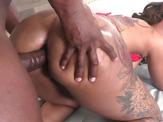 Giant breasted with the addition of huge bottomed Halle Hayes has addiction there anal