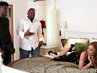 Naughty namby-pamby bitch Britney Amber offers herself to a three of horny black guys