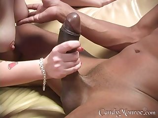 Cuckold husband jerks off while Sweets Monroe rides a black Hawkshaw