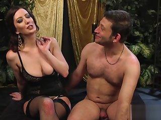 Big-breasted blooper strapon-fucks the brush slave