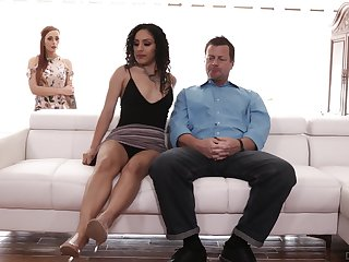Man nuisance fucks both these sluts added to cums on their tits