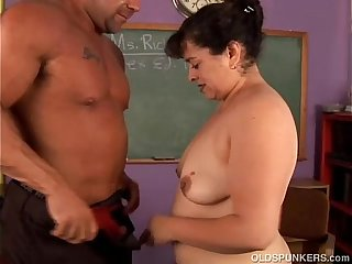 Cute chubby old spunker loves hardcore fucking and to eat cum