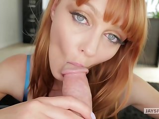 Red haired babe on every side beautiful, blue eyes, Marie Mccray sucks dick like a pro whore