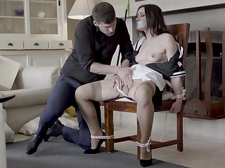Hot maid Valentina Bianco tied to a chairman and fucked good