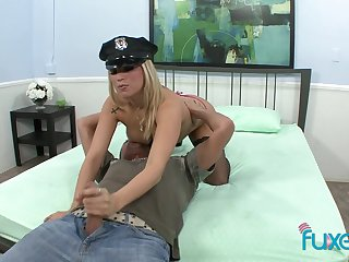 Up ahead savings cock busty blonde cop keeps spasmodical dude's cock well