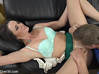 Brunette nearby big tits and deep throat is sucking dick not later than a job stick and enjoying it
