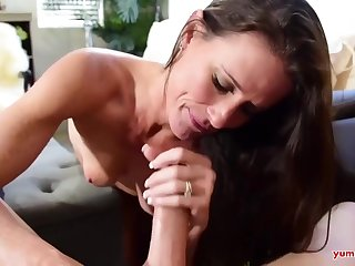 Closely-knit titted masseuse, Sofie Marie is gently sucking her customers dick, to the fullest his tie the knot is going forward
