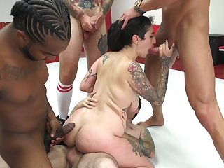 Bitch with saggy tits, gang banged and jized fiendish