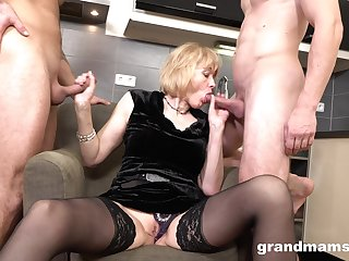 Munificent mom enjoys first time trine sex hither twosome young men