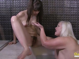 Big natural tits and hungry gungy pussy of blonde british mature in hot lesbian action