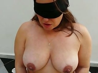 Submissive busty chubby wife connected with black stockings deserves some punishment