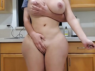Scorching mommy and sonny adjacent to kitchen