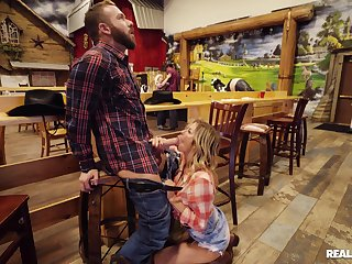 Chesty cowgirl Alexis Fawx meets an interesting new buddy