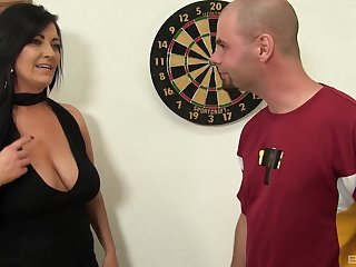 Sexual delight with a busty mature sharp-witted to suck plus swallow