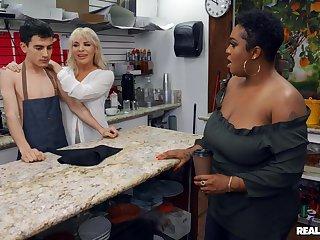 Boss bitch Dana Dearmond increased by customer Layton Benton share a dorky barista