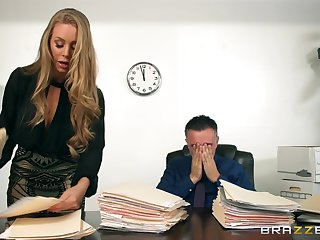 Elegant blonde gets put out with her boss